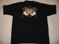 Pipe Band logo crest on back of shirt